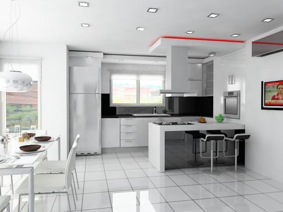 Современный дизайн кухня столовая