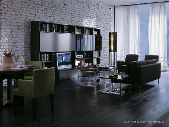 гостинная с темной мебелью