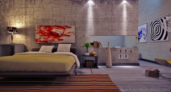 египетские коврики в интерьере современной спальни