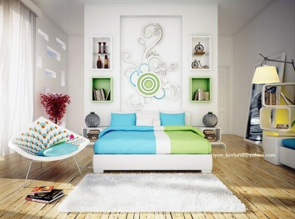 зелёно-сине-белая спальня