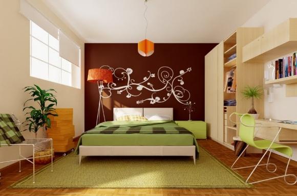 зелёно-коричнево-оранжевая спальня