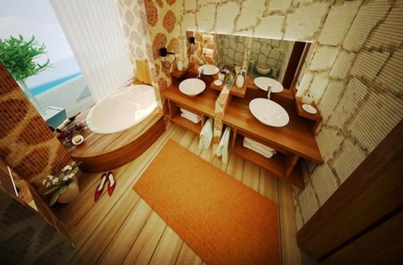 оранжево-бежевая ванная с деревянной отделкой