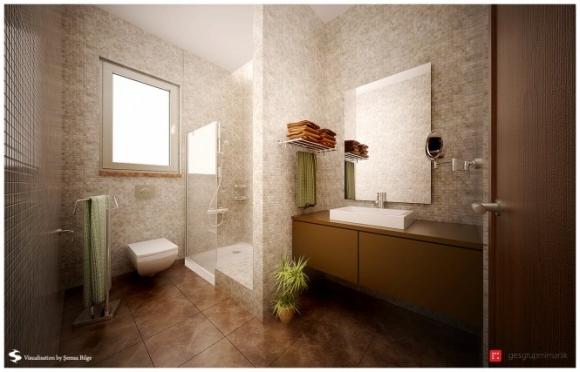 ванная в бежевых тонах