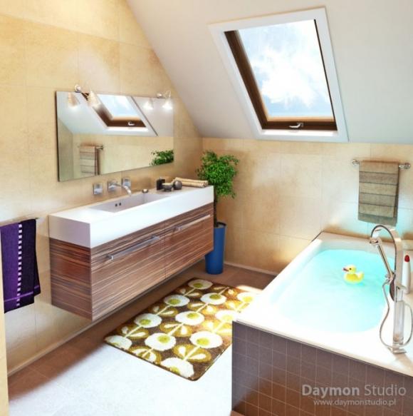 маленькая ванная с акцентом на плитке