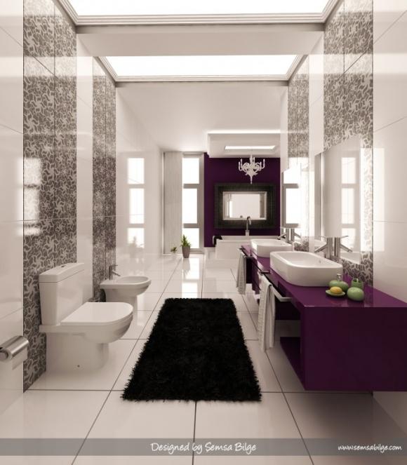 принты на стенах в ванной с фиолетовыми раковинами