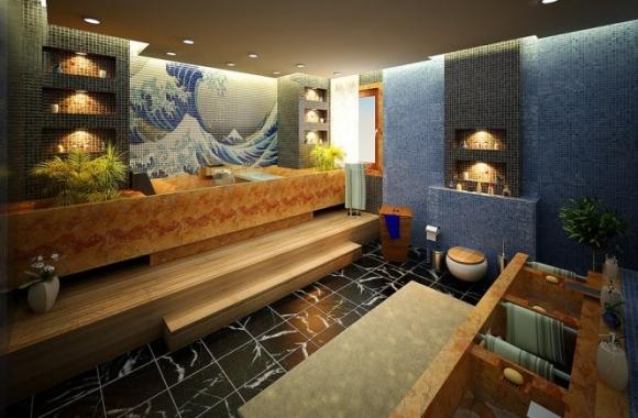 Гравюры японских художников на плитке в ванной