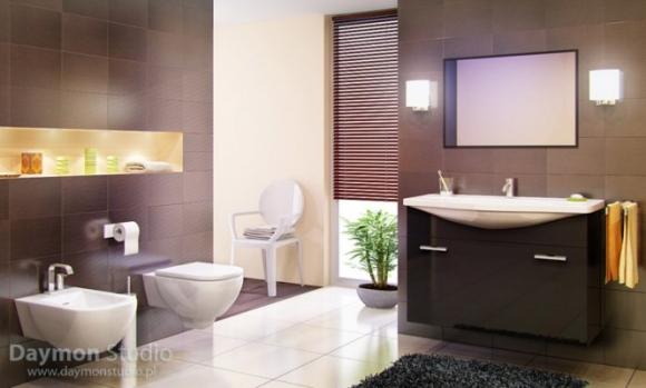 роскошная ванная комната с коричневыми стенами