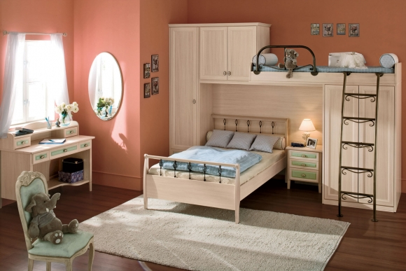 двухъярусная кровать для девочки в классическом стиле