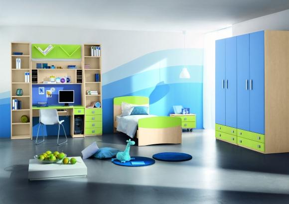 стильная комната для подростка голубого цвета