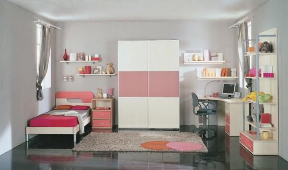 стильная комната для подростка сочетание серого с розовым