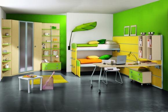 стильная комната для подростка зеленого цвета