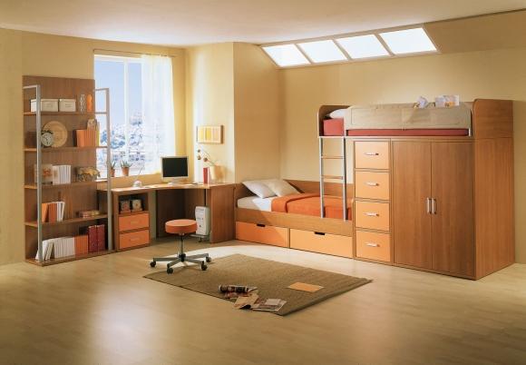 детская комната в классическом стиле с двухъярусной кроватью